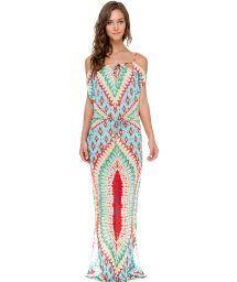 Colourful ethnic pattern maxi dress, bare shoulders - WILD HEART LONGA