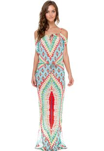 Colourful ethnic pattern maxi dress, bare shoulders - WILD HEART LONGA