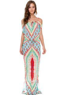 Vestido comprido étnico colorido, ombros nus - WILD HEART LONGA