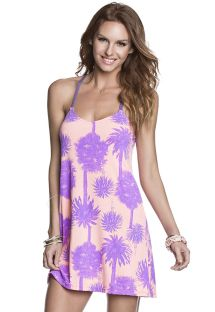 Pink/purple palm print beach dress - HI MAI TAI