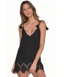 Black beach coverup dress with crochet edging - BLACKCORALS DRESS