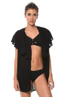 Black mini-dress style beach cover-up with frills - SALIDA BLACK