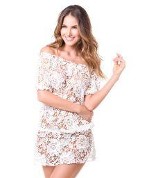 White bardot-neck guipure lace beach mini-dress - MAR DE AZUCAR