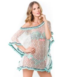 White lace kaftan and blue fringed stripes - PLAZA DEL MAR TUNIC
