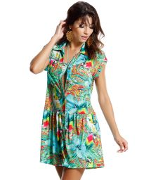 Shirt style beach dress, tropical print - BELIZE