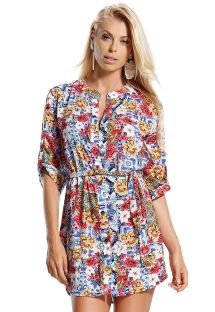 Colorful shirt dress with a waist band - CHEMISE MONARQUIA