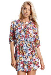 Kolorowa sukienka koszulowa wiązana w talii - CHEMISE MONARQUIA