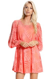 Leaf pattern coral beach dress with sleeves - CORAL LARANJA