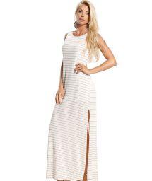Langes Strandkleid, beigefarben, geschlitzt, mit Streifenmuster - CORAL LISTRADO