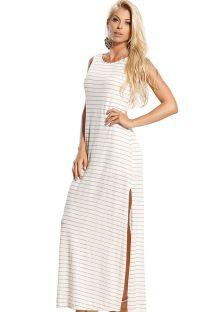 Vestito da spiaggia écru lungo a strisce - CORAL LISTRADO