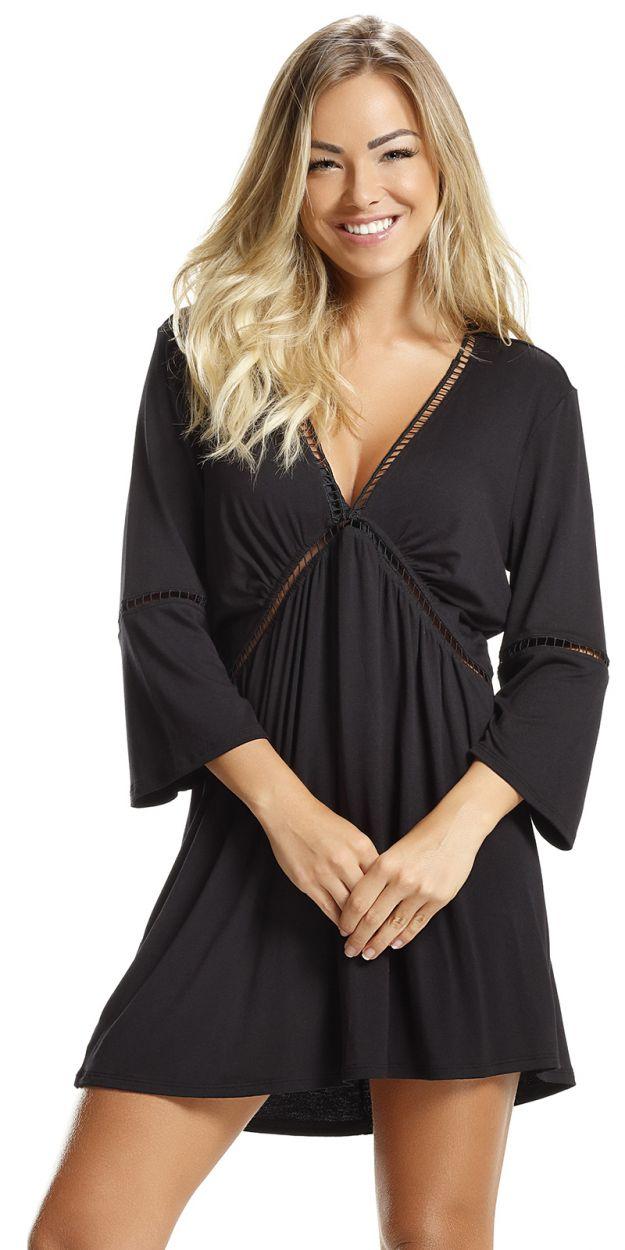 Пляжное платье черного цвета с ажурными краями - DRESS BLACK LISOS