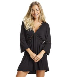 Black beach dress with openwork borders - DRESS BLACK LISOS