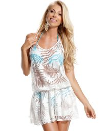Short, white beach dress with palm mesh stitching - FOLHA BRANCA
