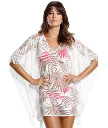 White, fringed kaftan with mesh stitching leaf design - FOLHA ROSA