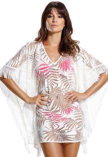 Ажурное платье-кафтан с бахромой белого цвета в принт с листьями- FOLHA ROSA