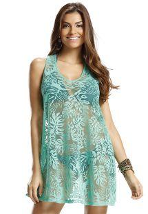Ажурное пляжное платье зеленого цвета со спинкой-борцовкой - LOLLY LISOS