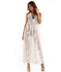 Ecru long beach dress with leaves pattern - MAXI RENDA BRANCO