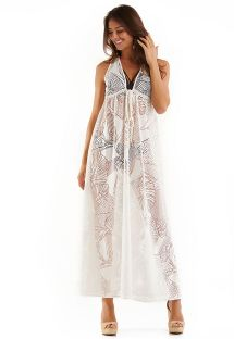 Ecru long beach dress with leaves pattern - MAXI RENDA BRANCO