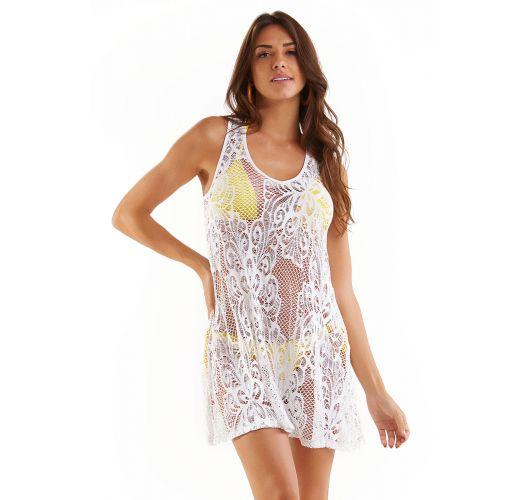Laced white mini beach dress - MINI RENDA BRANCO