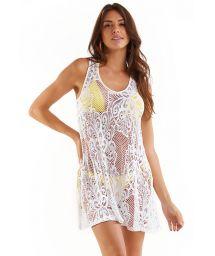 Mini robe de plage blanche ajourée - MINI RENDA BRANCO
