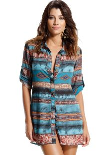 Ethnic, shirt style beach dress - PEIXE REI