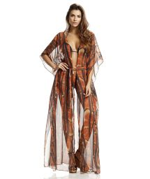 Printed long beach cover-up - QUEEN LINHAS DE BESOURO