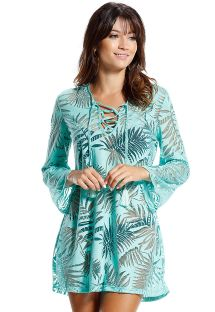 Blue, beach dress with mesh stitching, palm design - RECIFE APO