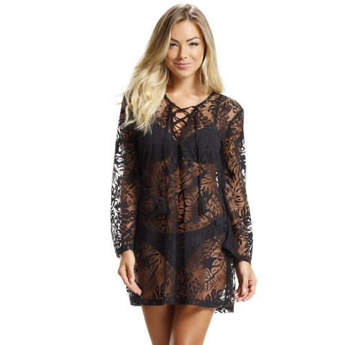 Black beach tunic with openwork and leave motive - SAIDA BLACK LISOS