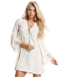 Ecru tunic robe with crochet inserts - SAIDA CELESTIAL