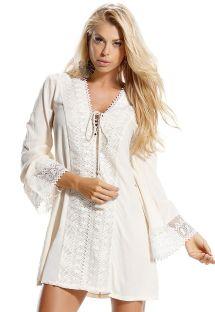 Платье-туника цвета экрю со вставками вязки крючком - SAIDA CELESTIAL