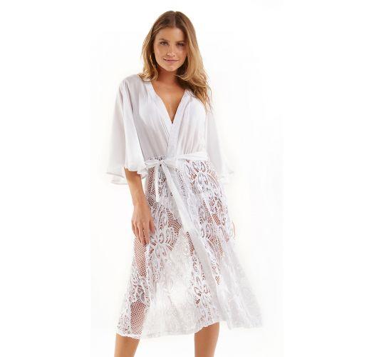 White beach dress with lace - SAIDA RENDA BRANCO
