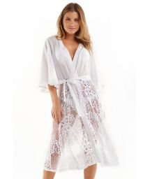 White beach dress with lace - SAIDA RENDA BRANCO