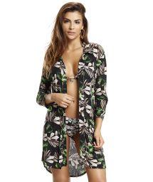 Green floral shirt dress long sleeves - SHIRT NATURE