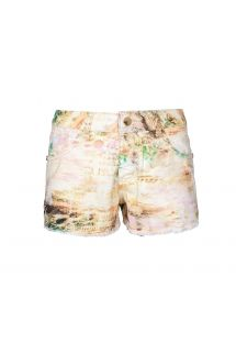 Printed denim shorts, faded effect, pastel shades - SHORT MUSICA