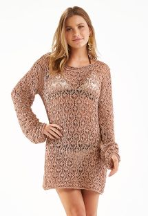 Beige short beach dress with long sleeves - TUNICA RICO