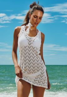 White openwork racerback beach dress - CABO FRIO