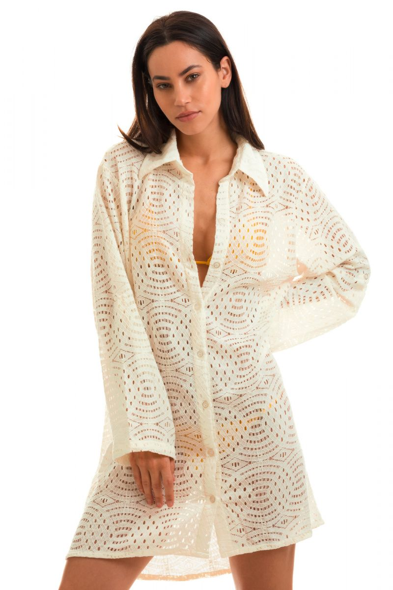 Asymmetrical openwork off-white shirt dress - CAMISA BRANCO