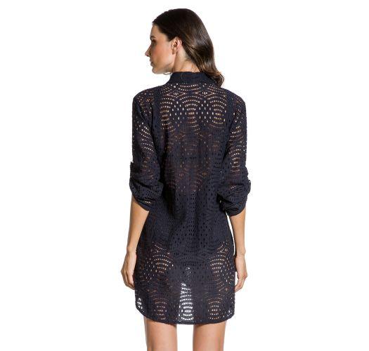 Black shirt dress with openwork - CAMISA NOITE