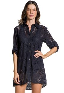 Black shirt dress with openwork - CAMISA NOITE