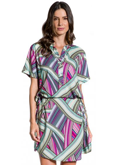 Beach dress in graphic print - CHEMISE LISTRADA