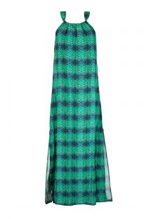 Long slit dress with blue and green gradient print - DRESS ESCAMAS AQUA