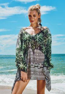 Kaftano da spiaggia con motivi floreali e geometrici - IRLANDA