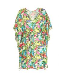 Flowing kaftan, multicoloured flamingo motifs - KAFTAN FLAMINGOS