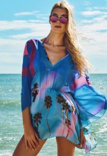 Light kaftan with tropical blue print - MACAE