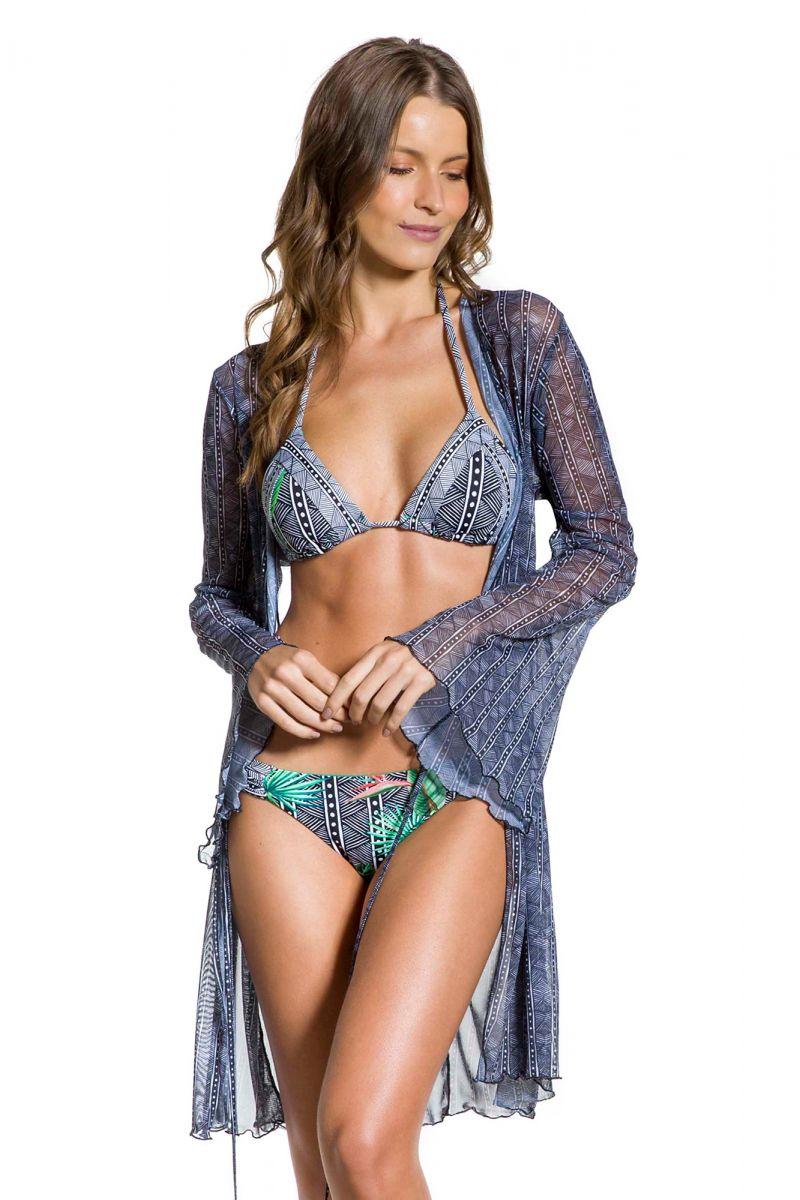 Printed beach dress with ties - PRAIA DA PEDRA