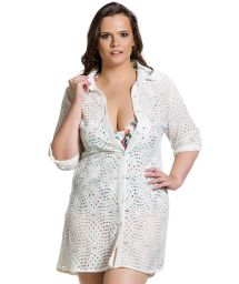 Weißes Spitzen-Strandkleid in Plus Size - RENDA MADRUGADA PLUS