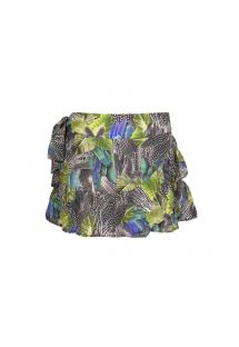 Light skirt, leaf print in black and green - SAIA ANGOLA
