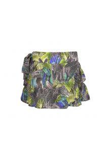 Falda ligera, estampado de hojas negras y verdes - SAIA ANGOLA