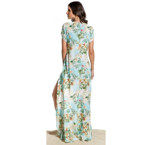 Langes florales Strandkleid mit Überlappung - SAIDA LONGA MANHÃ