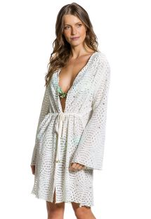White openwork long sleeve beach dress - SAIDA MADRUGADA
